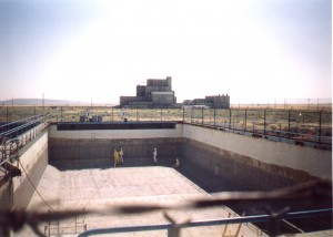 The four large 183-H solar basins at Hanford required removal of 1/4-inch (6 mm) of contaminated concrete from floors and walls.