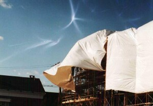 Most containment structures are not entirely effective at controlling dust (Image: Global Wrap LLC, showing one of their competitors)